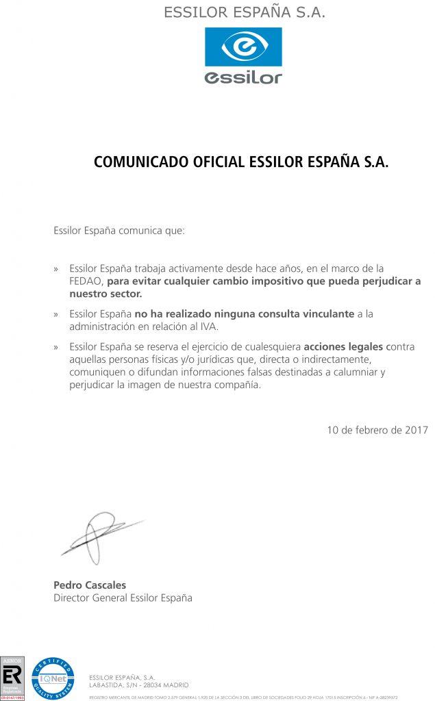 Carta Comunicado Oficial IVA